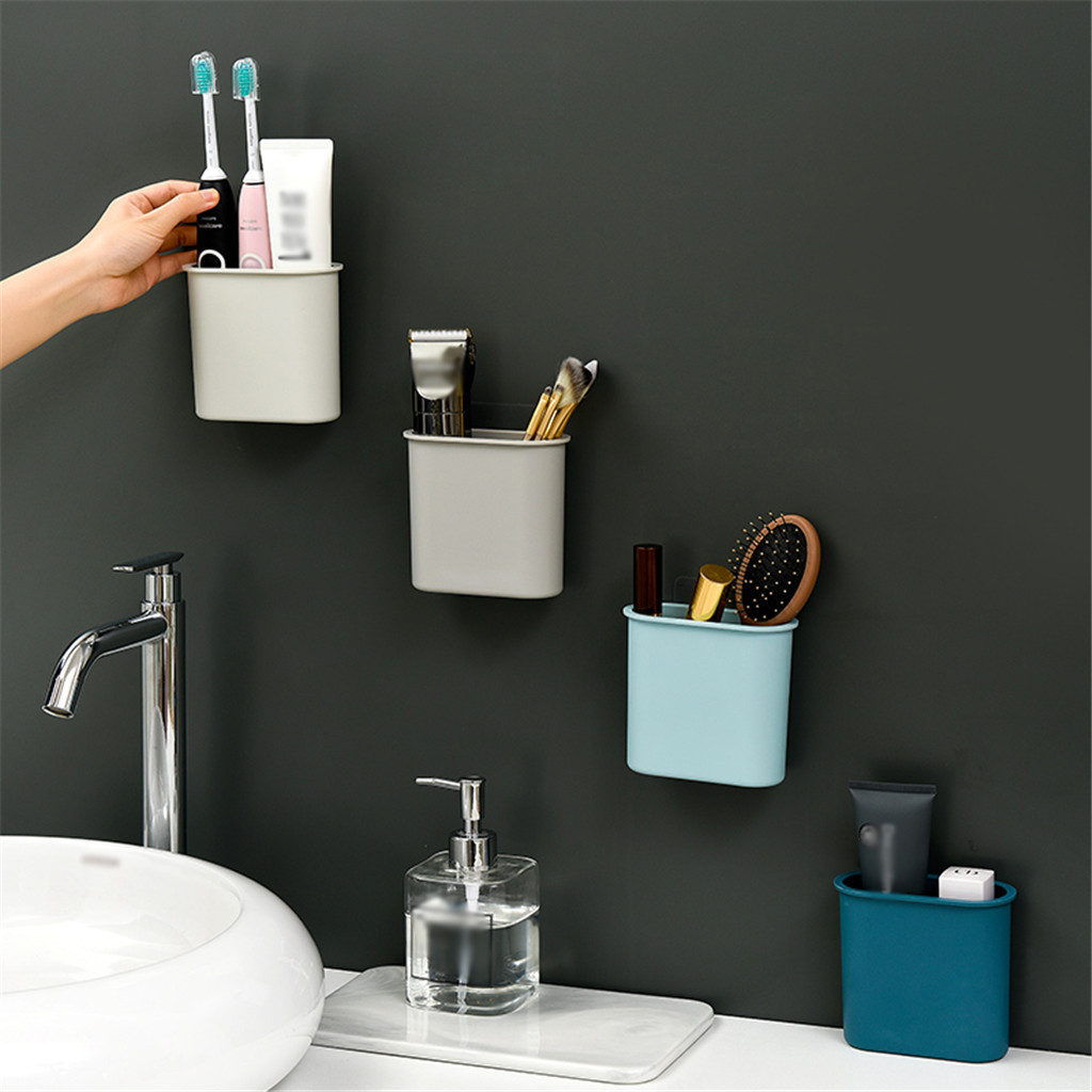 Seamless Wall-Mounted Bathroom Storage Box Toothbrush Toothpaste Rack  July 15 DropShipping