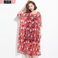 DIMANAF Women Summer Style Dress Plus Size Chiffon Apple Print Holiday Beach Female Casual Draped Fashion
