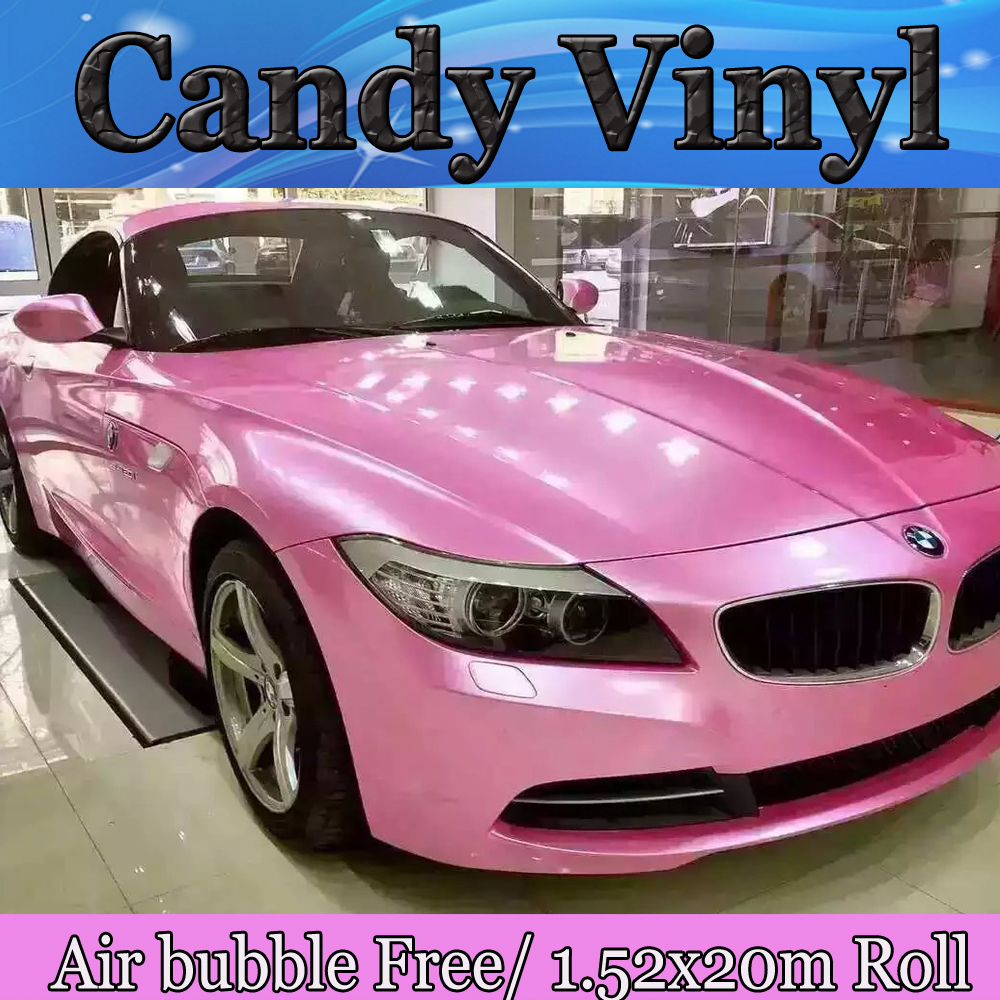 PROTWRAPS Candy Pink Glossy Vinyl Car Wrap Film With Air