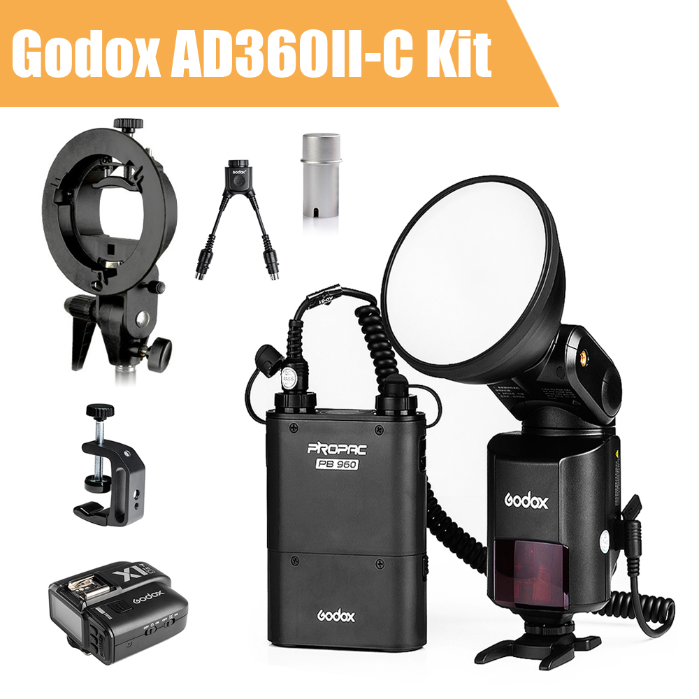 Godox Witstro AD360 II AD360II-C TTL On/Off-Camera Flash Speedlite+ Godox X1 Wireless Trigger  for Canon DSLR + Accessories Kit 2pcs godox cells ii 1 8000s wireless transceiver trigger kit for canon eos camera speedlite and studio flashes