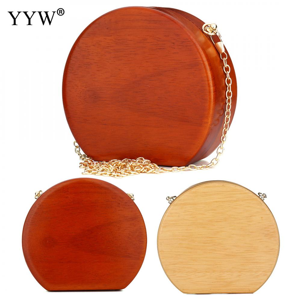 e44185250e Vintage Shoulder Bags Ladies Chain Messenger Bag Clutch Wood Bag Attached  With Hanging Strap Solid More