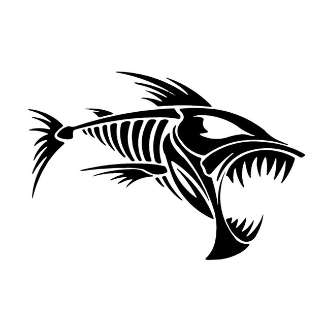 12 7 8 7cm Skeleton Fish Bones Vinyl Decal Car Sticker Window Decoration Fashion Funny Car Sticker C4 0763 In Car Stickers From Automobiles