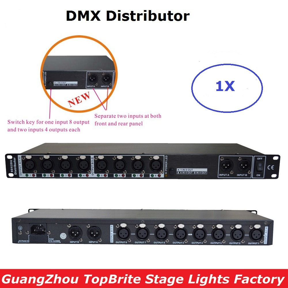 New Design 88 265V Input DMX Amplifier Splitter DMX Signal Repeater 8 Output Ports DMX512 Signal