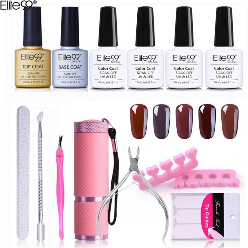 Elite99 13pieces/lot Nail Art Tools Kit 10ml Coffee Brown UV Gel Nail Polish 9W Mini Flashlight Nail Sanding File Cuticle <font><b>Pusher</b></font>