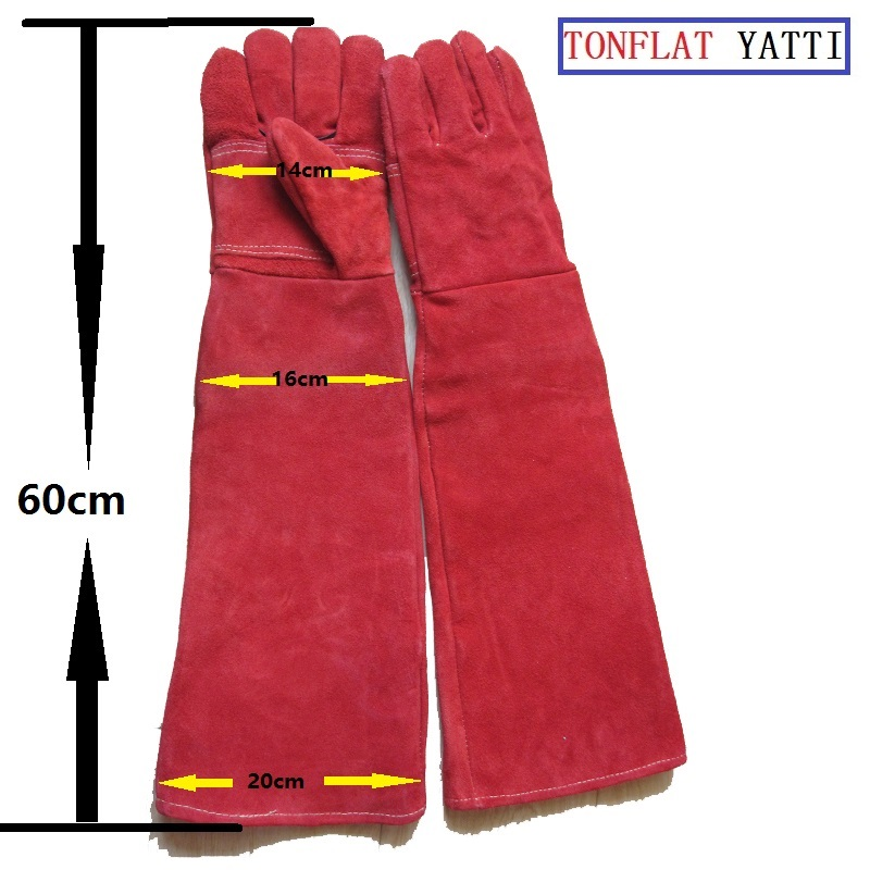 New long leather 60cm Anti bite safety gloves for Catch dog,cat,reptile,snake,animal anti Pets grasping biting protective gloves