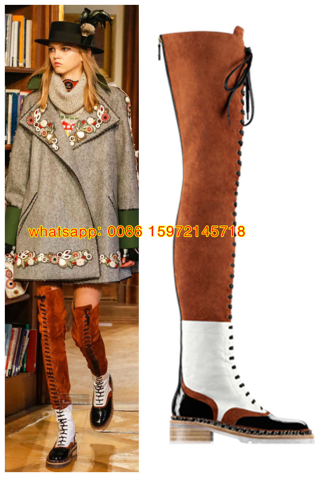 autumn shoes womens black white contrast color thigh high