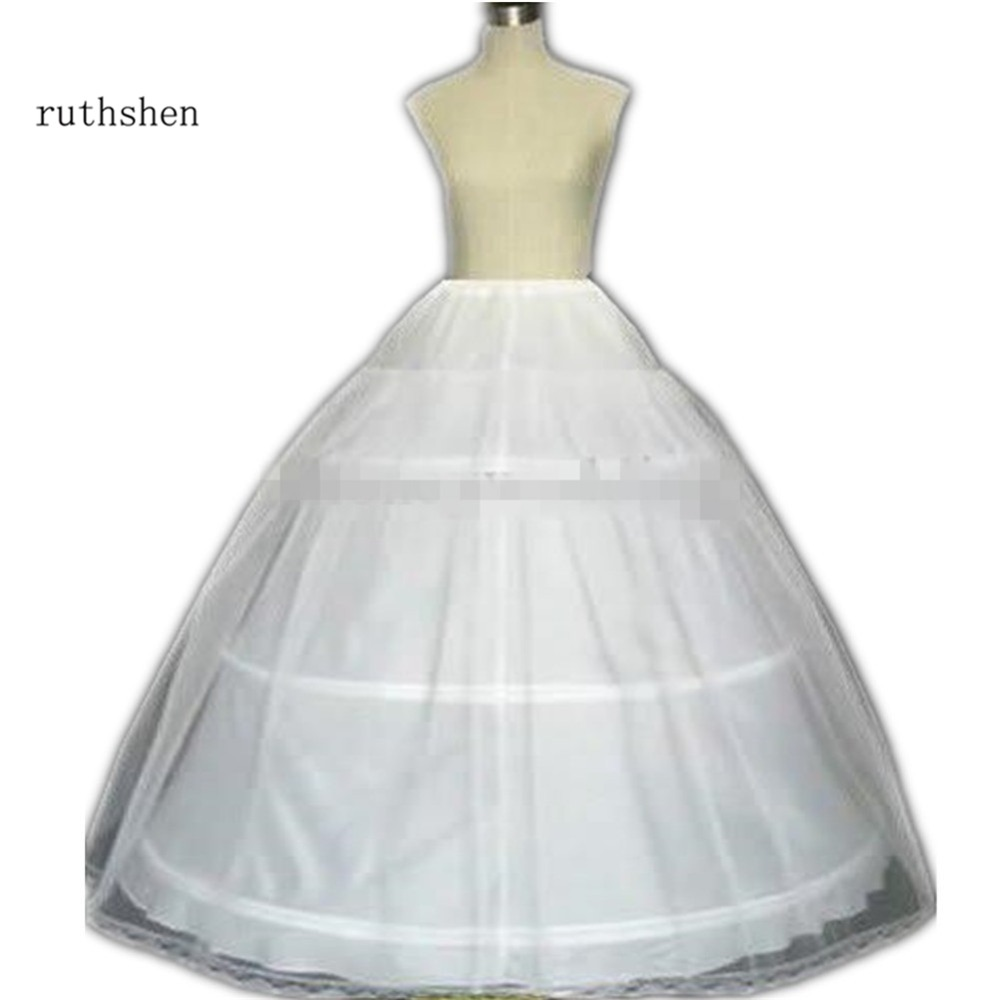 White 3 HOOP PETTICOAT Crinoline Underskirt BRIDAL Ball Gown WEDDING / Quinceanera Dress Petticoats In Stock Adjustable Waist