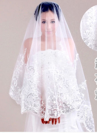 2017 1T 1.5M elegant new Wedding Supplies Wedding dress Accessories Bridal Veil Ivory Lace