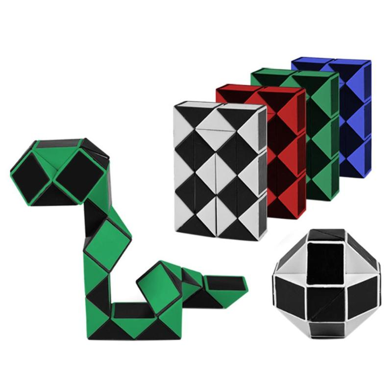 24 Blocks Magic Snake 3D Magic Cube Twist IQ Logic Brain Teaser Game Toy Puzzle Cube Gift For Kids Magico Cubo