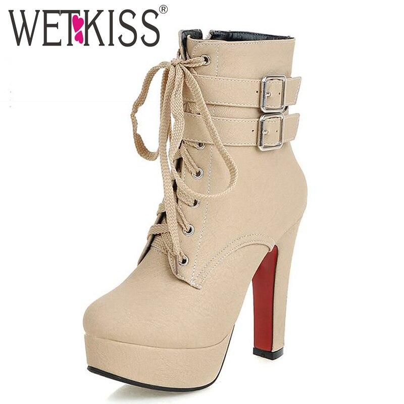 ФОТО WETKISS Super Big Size 32-48 New Buckle Strap High Heels Lace Up Short Boots Women Shoe Spring Autumn Platform Winter Boots 2017