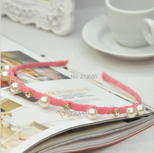 Free Shipping Fashion Girls Hairbands with Peals and Diamond  Hand working Ribbon Around Hairband 10pcs/lot
