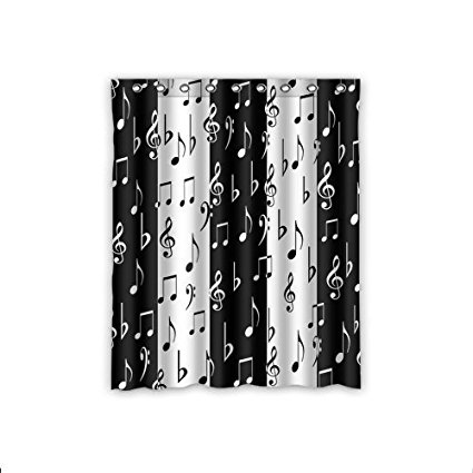 CHARMHOME Fashionable Music Lovers Musical Notes Pattern Black And White Waterproof Polyester Fabric Shower Curtain