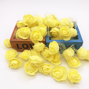 Image 3 - 100Pcs/lot Handmade PE Foam Rose Flowers Wedding Party Home Decor Accessories Artificial Craft Flower Head Wreath Supplies