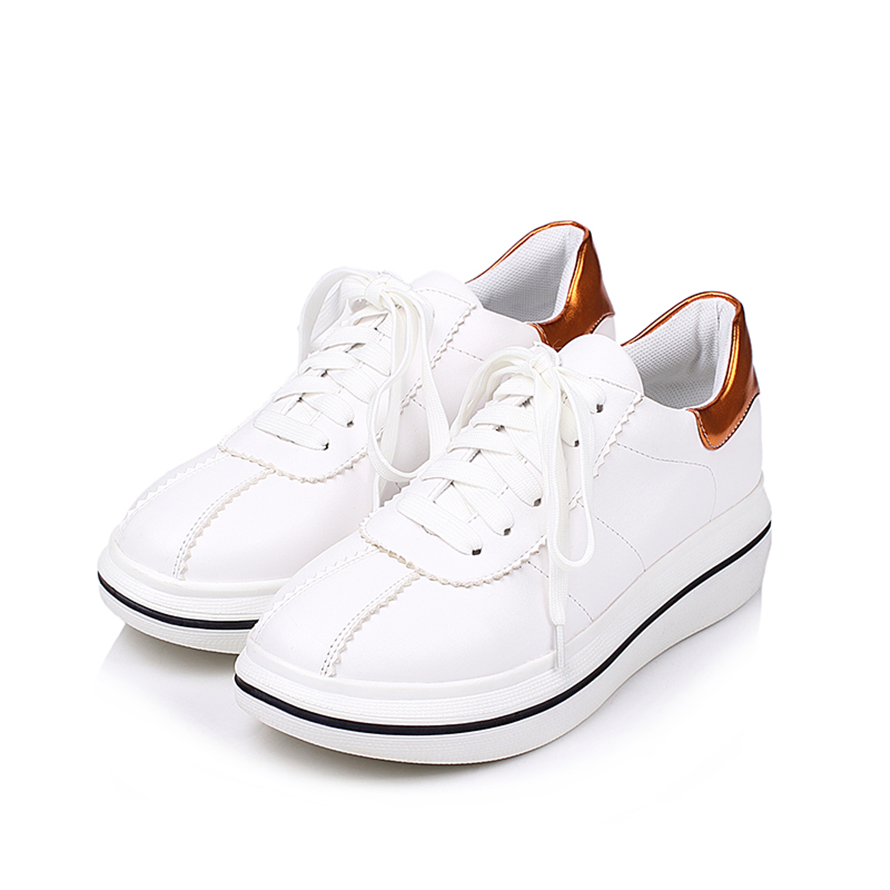Spring Autumn New Designer Wedges White Lace-Up Platform Sneakers - Zapatos de mujer - foto 2