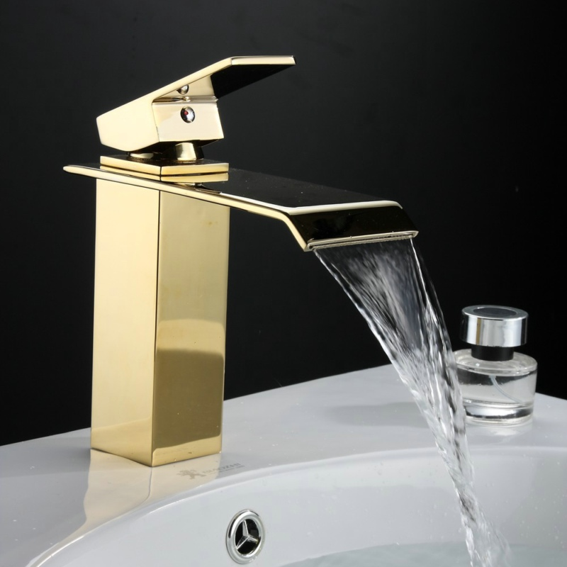 BECOLA Brand Design Waterfall Taps Bathroom Gold basin tap Single ...
