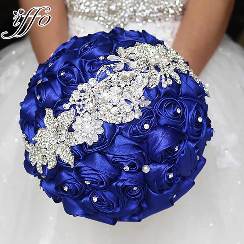 Sapphire Blue Brooch Bouquet Silk Bride Bridal Wedding Bouquet