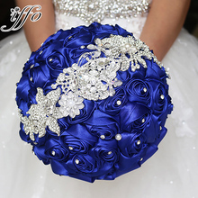 Sapphire blue brooch bouquet Silk Bride Bridal Wedding Bouquet Bridesmaid royal blue Cloth roses Customizable diamond bouquets