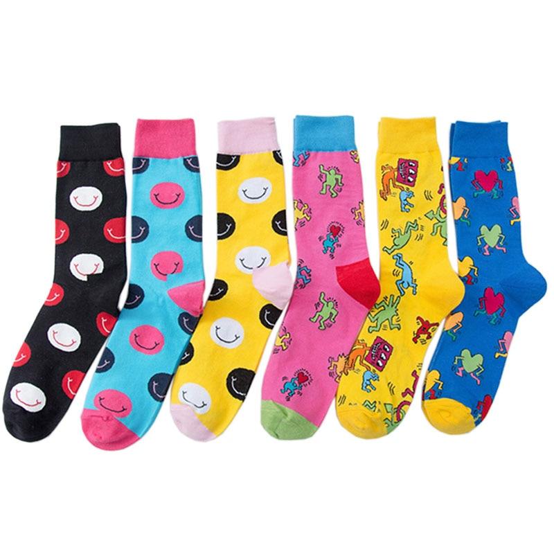 5 Pairs/ lot Colorful Socks Men Funny Combed Cotton Cartoon Crew Happy Socks Casual Business Alien Streetwear Socks Dress Gift