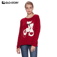 GLO STORY 2018 Batwing Sleeve Loose Women Sweaters Autumn Winter Cute Cat Plus Size Pullover Knitted Sweter Tops WMY 7740