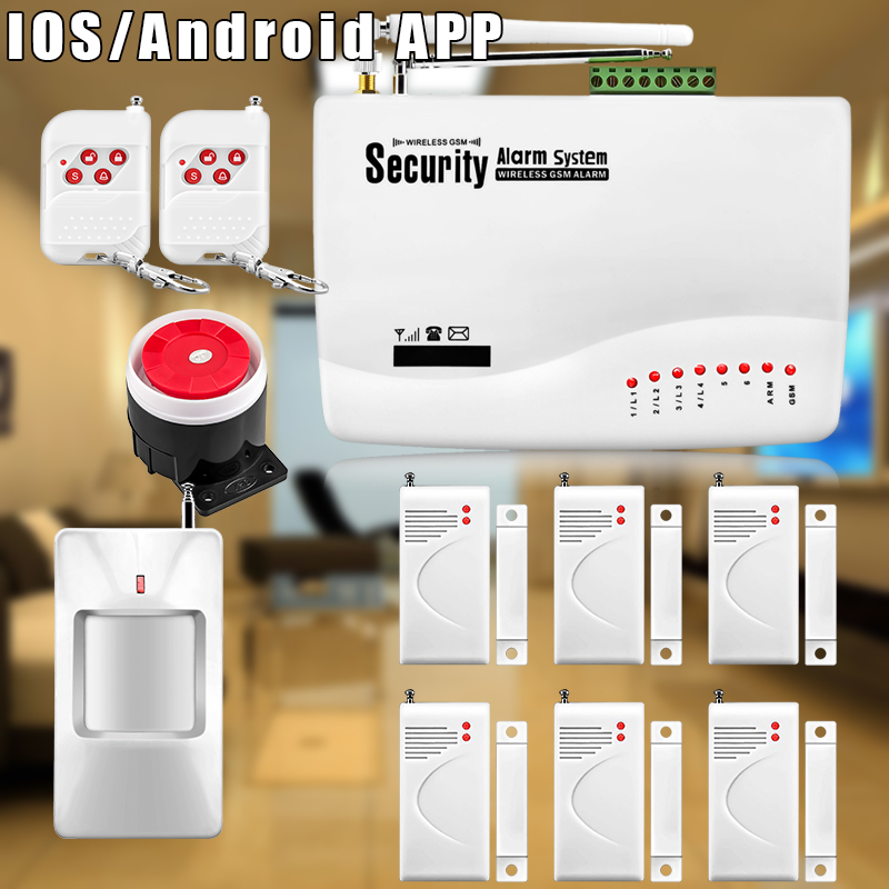 Etiger 6pcs/lot Home Alarm Systems 850/900/1800/1900 Wireless GSM SMS Burglar PIR Voice Remote Control Set Arm/Disarm etiger hd network camera etiger s4 burglar alarm gsm sms security system for home office