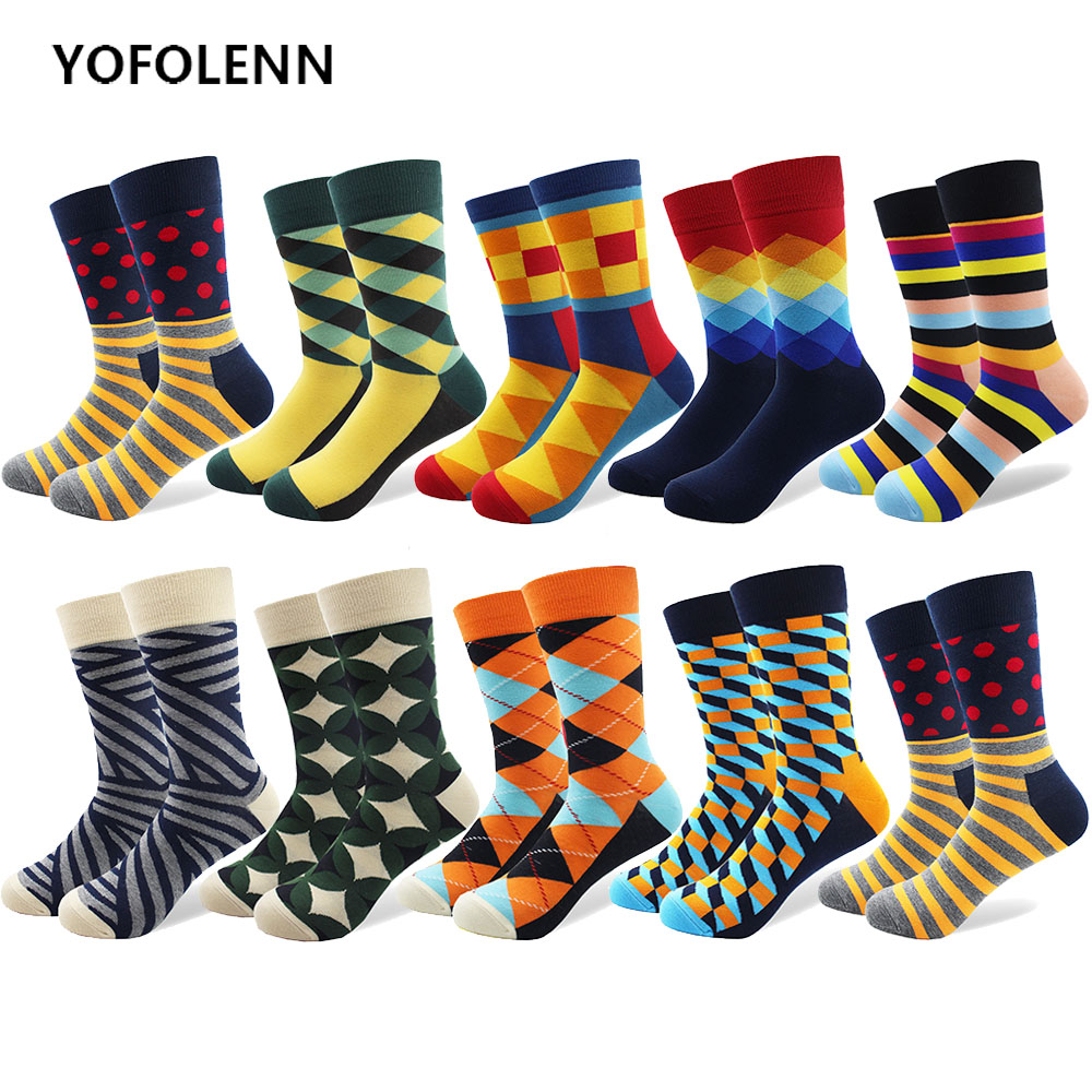 10 Pairs/lot Mens Funny Colorful Combed Cotton Socks Dot Striped Argyle Casual Happy Socks Crazy Dress Wedding Socks Breathable