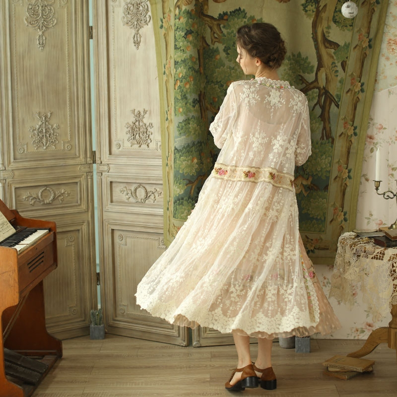 Mori Printemps White Filles Beige Femmes Automne Lynette's Broderie Vintage Chinoiserie Cardigan RwxYqp
