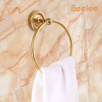 Beelee BA6204G Free Shipping Wholesale And Retail Newly Polished Golden Wall Mounted Bathroom Towel Ring Brass