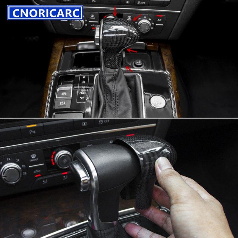 CNORICARC fibre de carbone style voiture changement de vitesse poignée couvercle garniture intérieur modifié accessoires décalcomanie pour Audi A4 A5 A6 Q5 A7