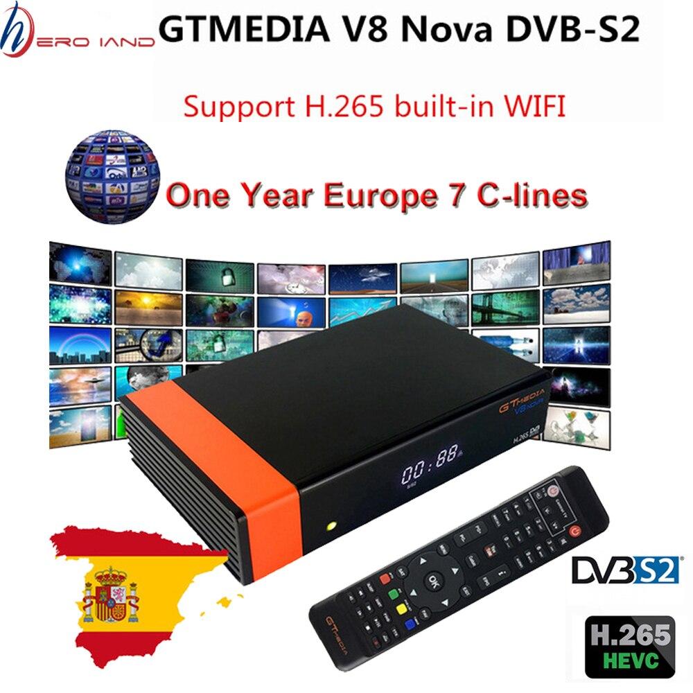 Récepteur Gtmedia V8 Nova WIFI intégré puissance freesat v8 super DVB-S2 1 an de Cline TV Box même que V9 Super récepteur satellite