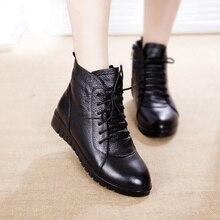 Zapatos SWYIVY para mujer, botines de piel de invierno cálidos, botas de cuero genuino, zapatos casuales para mujer, Bootee Woan 2019 impermeable 43