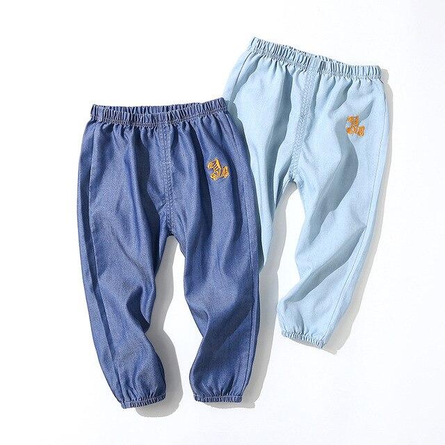100% QualitäT Kinder Kleidung Mädchen Jungen Hosen Frühling Sommer Dünne Lose Denim Jeans Tencel Baumwolle Laterne Kinder Hosen Elastische Taille Hose Kunden Zuerst