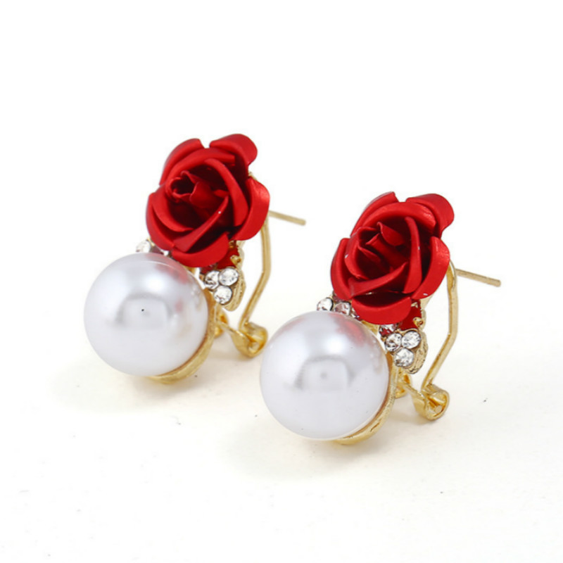 Fashionable Beautiful Iron Rose Flower Ear Ring Crystal Pearl Earring Stud Clip Earrings for Women Accessories Jewelry Duftgold