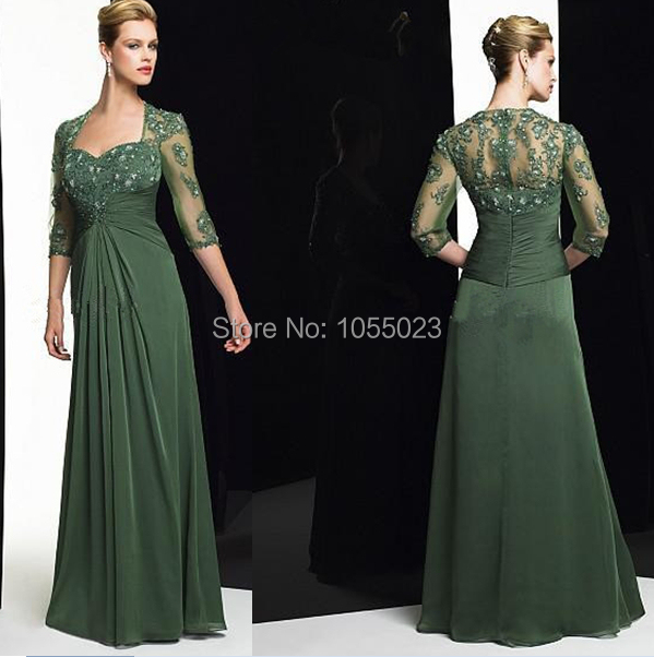 The Newest Chiffon Dark Green Half Sleeves Mom S Boda Dress Mother
