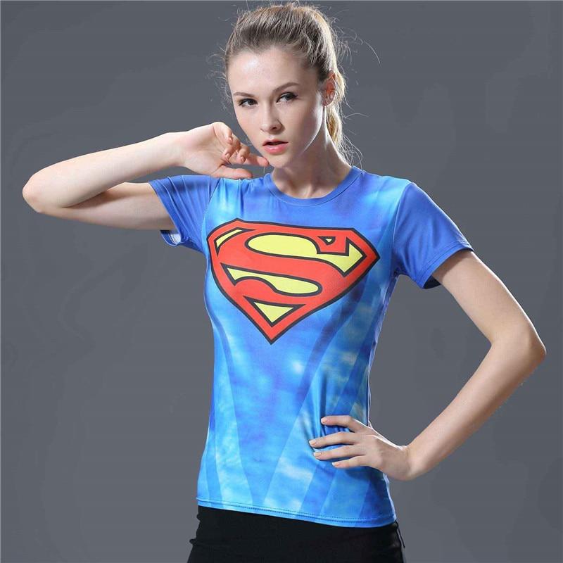 20  Fashion Superman Compression Shirt T Shirt Women Fitness Summer Top Short Sleeve O-neck Tshirt Women Tight T Shirt Femme Tops