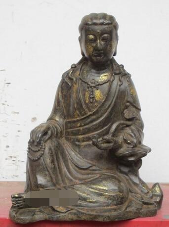 """xd 003177 10""""Tibet Tibetan Bronze Ru Yi Buddha beads Sitting guanyin Drolma Kwan yin"""
