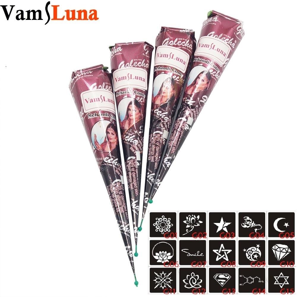 4 pcs Henna Tattoo Ink Brown Warna + 15 Template Stensil 6 * 6 cm Seni Tubuh Mehndi Tinta Untuk Sementara Tubuh lukisan