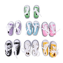 1 Pair 7.5cm Denim Canvas Shoes For BJD Doll Toy Mini Doll Shoes for Sharon Doll Boots Dolls Sneackers Accessories Hot Sale(China)