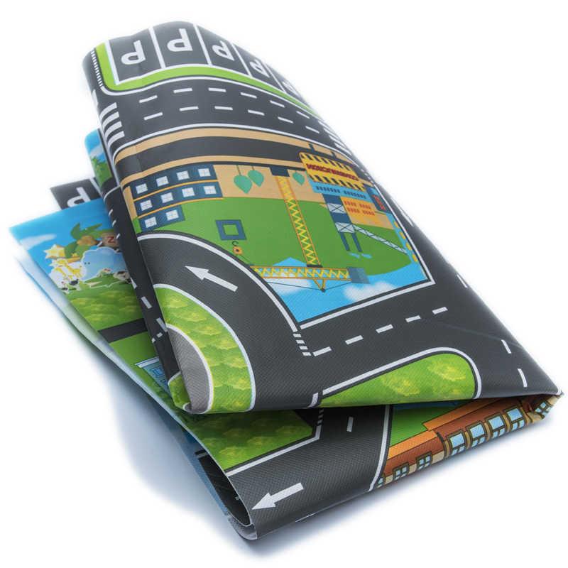 10 個車 & 1 個マップ 83*58 センチメートル市駐車場ロードマップ合金おもちゃのモデルカークライミングマット英語版ギフト子供のための
