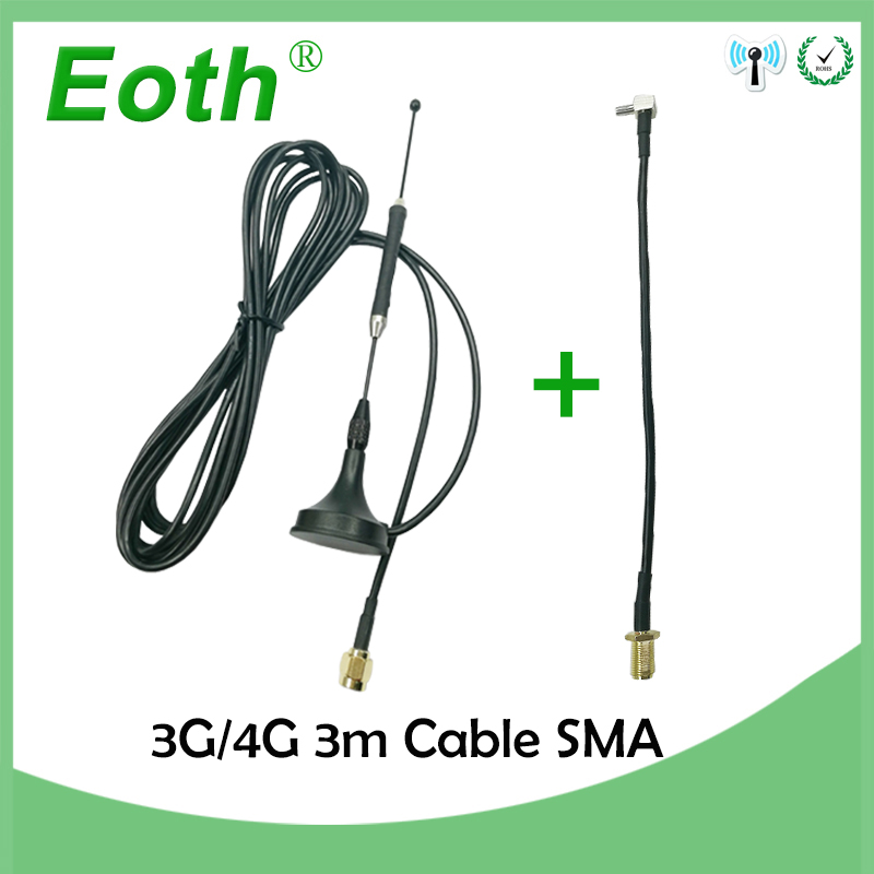 4G LTE Antenna 10dbi SMA Male Aerial 698-960/1700-2700Mhz magnetic base RG174 3M + 20cm SMA Female to TS9 Male adapter Cable image