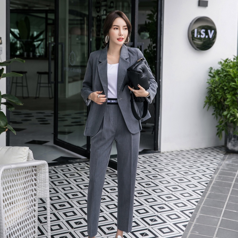 2019 Spring New Women's Long Sleeve Blazer Suits Double Breasted Tops Elastic Waist Pants Formal Notched Elegance S8D511J-in Pant Suits from Women's Clothing    2