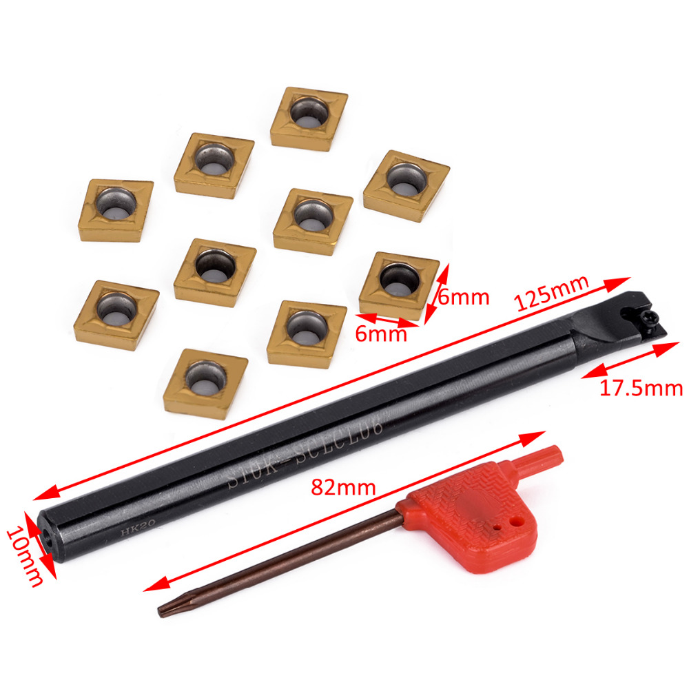 1pc S10K-SCLCL06 Holder + 10 Pcs CCMT060204 Carbide Inserts + T8 Wrench For Lathe Turning Tool