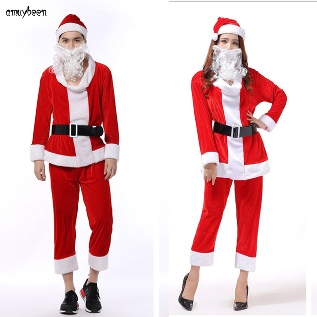 christmas costumes santa claus cosplay for adults men women red corduroy suit hat beard uniform role - Christmas Clothes For Adults