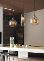 Modern glass single hanging lamp D20/24/30cm silver/gold color for coffee shop barshop creative decoration lighting