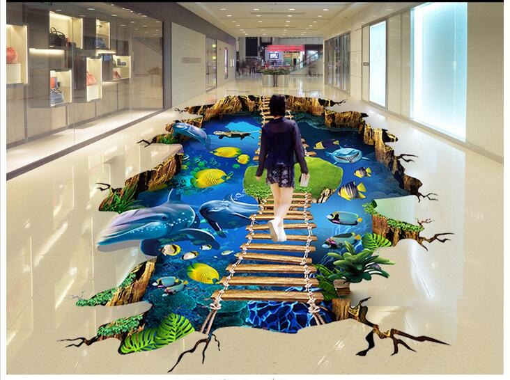 Custom photo 3d flooring mural self - adhesion wall sticker 3 d Sea world dolphin ladder  painting 3d room murals wallpaper 3 d pvc flooring custom wall sticker underwater world coral fishes 3 d bathroom flooring painting photo wallpaper for walls 3d
