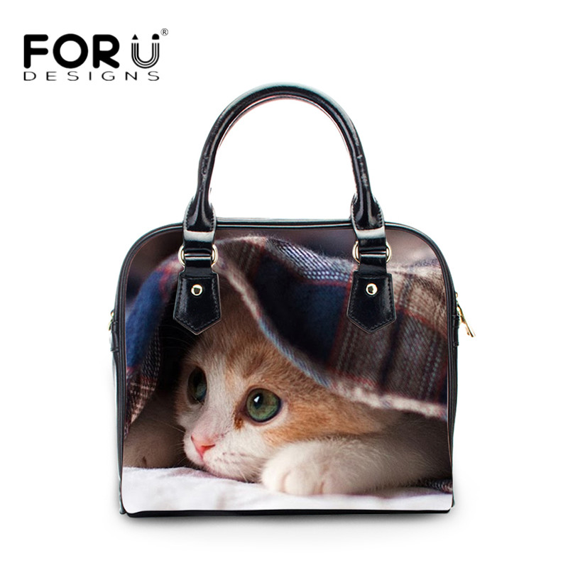 FORUDESIGNS Cute Animal Cat Women Top-handle Bags Luxury Brand Leather Crossbody Tote Bag for Lady Girls Messenger Shoulder Bag forudesigns women handbags large capacity messenger bags cute emoji print ladies top handle bag casual student girls beach bag