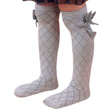 Girls Kid High  Lovely Bow Knee  Age 3-10Y grey