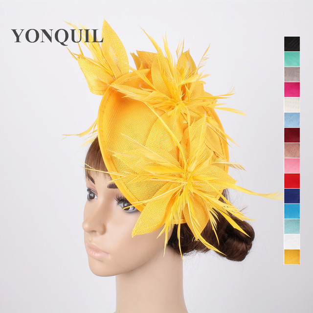 4bbb39080652a Yellow wedding fascinator hats flower hair accessories ladies kentucky  derby hat fascinator headbands with feathers or