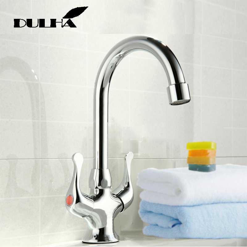 Kitchen Faucet Mixer Tap Vessels Sink Hot Cold Water Chrome Polish Taps 360 Degree Swivel Rotate Faucets Free Shipping