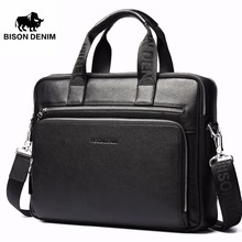 Bison Denim äkta läder 14 '' bärbar portfölj Business Zipper Brown Black Handbag Soft Cowhide