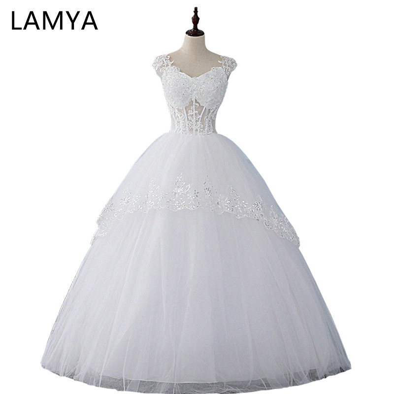 Cheap Plus Size Ball Gown Wedding Dresses: LAMYA Real Photo Sexy Wedding Dress 2018 Cheap Ball Gown